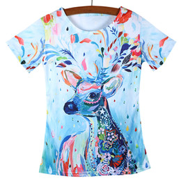 Wholesale Vintage Snail - Wholesale-Hot Sale Female Camisetas T Shirts Women Color Horse Snail Deer Peacock Vintage Harajuku Printed Lady T-shirts Tops Tees Tshirts