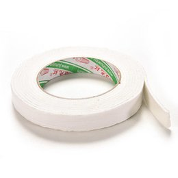 Wholesale Doubled Sided Tape Sticky - Wholesale- 2016 1Roll 1.8x300cm Double Sided Tapes White Foam Super Strong Adhesive Sticky Tape Roll