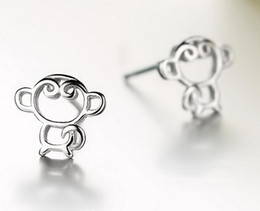 Wholesale Korea Tops Design - 2017 New Monkey 925 Sterling Silver Earrings for Girls Women Korea Style Hollow Unique Design Ear Stud Jewelry Gift Top Grade Quality