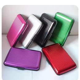 Wholesale aluminium card case wallet - Promotion price! 400pcs lot Aluminium Credit card wallet cases, 8 Colors For Options card holder bank card case alum Free Shipping