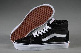 Wholesale White Hi Tops Shoes - 2017 Van Sk8-Hi Top Unisex WS003 Black White Canvas Shoes Sneakers Size 35-44 With shoes box
