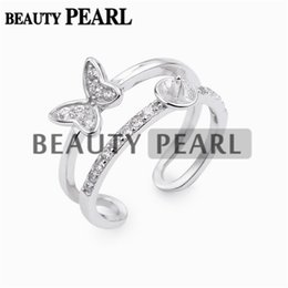 Wholesale 925 Butterfly Rings - 5 Pieces Double Band Ring Base Butterfly Zircon 925 Sterling Silver DIY Pearl Ring Semi Mount