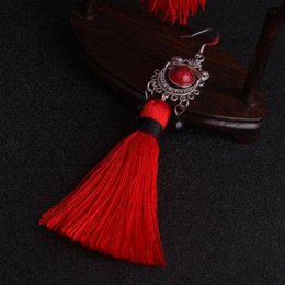 Wholesale Chinese Jade Tassels - Big star traditional Miao silver Fringes tassel dangle earrings red  , New Chinese wind Ethnic earrings jewelry red