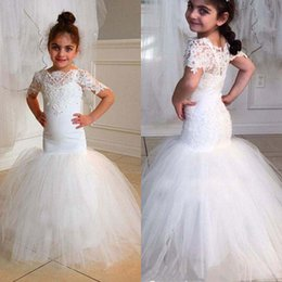 Wholesale Kids Vintage T Shirts - Vintage Mermaid Flower Girl Dresses For Weddings Tutu 2017 Lace Appliqued Boho Beach Little Baby Gowns for Communion Cheap Kids Formal Wear