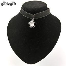 Wholesale Collar Leon - Godzgift Women Necklace Goth Handmade Flaming Sun God Pagan Wiccan Pendant Leon Choker Collar Ribbon Necklaces JN0062