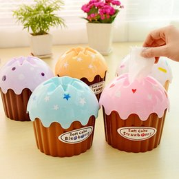 Wholesale Tissue Box Cream - Wholesale-2016 Time-limited New Room Carro 981 Cute Ice Cream Cake Towel Tube With Bath toilet Tissue Box Kit Toothbrush Cup