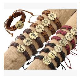Wholesale Zodiac Sign Wholesale - Bracelets 12 Zodiac Signs Leather Bracelet Alloy Constellations Charm Bracelets Adjustable Bracelet Jewelry Best Gifts DHL Free Shipping