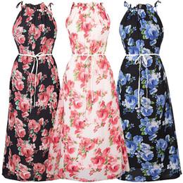 Wholesale Halterneck Chiffon Dresses - 2017 Floral Print Halterneck Chiffon Dress Women Sexy Maxi Summer Rockabilly Tunic Boho Robe Long Beach Flowers Sashes Veatidos