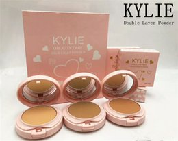 Wholesale Facial Skin Layers - 3 Colors Kylie Jenner Cosmetics Highlighter Makeup Double Layer Face Pressed Powder Oil Control Eyeshadow Facial Palette