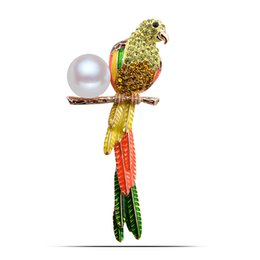 Wholesale Cute Parrot - Wholesale- RGP BR426 2016 New Arrival Parrot Brooches Real Gold Plated High Quality Cute Jewelry Nickel Free Luxury Jewelry