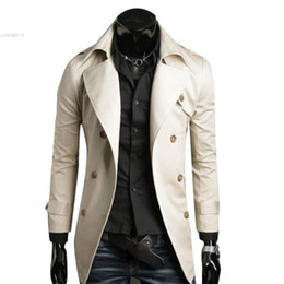 Wholesale Men England Coat - Wholesale- Men's Stylish Double Breasted Long Trench Coat Jacket Windbreak Overcoat Winter Long Jacket For Men Plus Size M~XXL dropshopping