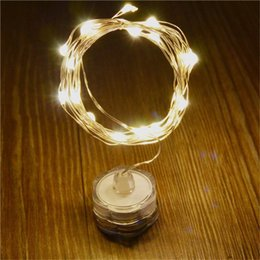 Wholesale Rice Lights String - coin battery powered 2M 20leds many colors rice copper wire led submersible string light for flower vase