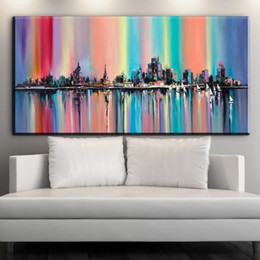 Wholesale Oil Painting Calligraphy - ZZ1906 modern abstract oil painting on canvas bright multi color rainbow city painting living room wall decorative art picture