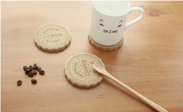 Wholesale Wood Hot Pads - Hot sell fresh and lovely wood cup mat coaster creative cookies insulation pad 9cm MZ305 Cafe tool