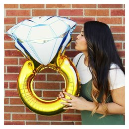 Wholesale Large Decoration Wedding Rings - 2 Size Large Propose Diamond Ring Foil Helium Balloon Wedding Decorations - Engagement Party Marriage Lover Room Decor