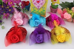 Wholesale Mini Feather Clip Hat - Fashion Hair Jewelry Children Baby Girl Mini Hat Hair Clips Feather Rose Top Cap Lace fascinator Costume Accessory headdress Plumed Hat 7CM