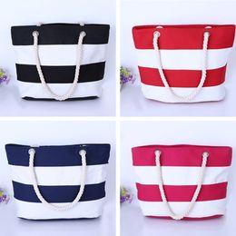Wholesale Wholesale Handbags Printed - Women Beach Canvas handbags Bag Fashion Stripes Printing Handbag Ladies Large Shoulder Bags Tote Casual Shopping Bags wholesale 2017