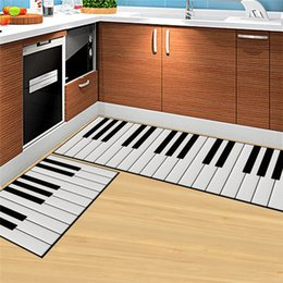Wholesale Kitchen Rugs Set - 2pcs set Piano Keys White Rectangle Mat alfombras dormitorio tapijt loper Carpet Living Room Deurmat Dier kitchen rugs mats tapis chambre