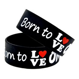 Wholesale one direction music - 50PCS Lot One Direction Born To Love Silicone Wristband Great To Used In Any Benefits Gift For Music Fans