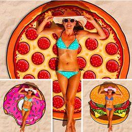 manta de playa Rebajas Ronda de playa Ducha Toalla Manta Poliéster Yoga Toallas Pizza Hamburguesa Cráneo Helado Fresa Piña Donut Cake Toalla para Mujeres niñas