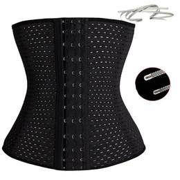 Wholesale Slimming Corset Waist Cinchers Wholesale - 3Rows hooks women slimming Cheap body shaper Bustier belt fashion 4 steel boned waist trainer corsets black Plus size Shapewear