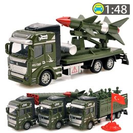 Wholesale Toy Model Pulling Trucks - 1:48 Pull Back Military Vehicles Cars Toys Alloy Diecast Car Model Rocket Missile Car Truck Toy Classic Boy Toys Military Enthusiasts