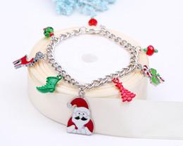 Wholesale Christmas Tree Wholesale Prices - Wholesae Factory price Santa Claus Charm Christmas trees Bracelet Unisex Bracelet glass bead bracelet & Bangles For present FJHYBX32541