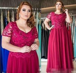 Wholesale Black Fushia Short Dress - Elegant Plus Size Fushia Mother Formal Wear Evening Dress Short Sleeve Lace Chiffon Long Party 2017 Mother Of The Bride Dress Suit Gowns