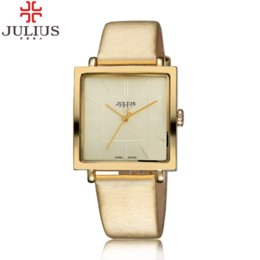 Wholesale Watches Ol - 2016 Top Brand Julius Women Girl Dress Watches Profession OL Fashion Ultrathin Square Vintage Ladies Wristwatch Relogio Feminino