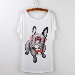 Wholesale Funny Bulldog - Wholesale-2016 Funny Pug Print Women T-Shirt Female Tops White Camisetas Y Tops Loose T Shirt French Bulldog Tee Shirt Femme Summer Tshirt