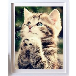 Wholesale Crafting Kits - New 25*30cm DIY 5D Naughty Kitten Cat Stitch Kit Crystal Diamond Embroidery Painting Cross Stitch Home Decor Craft