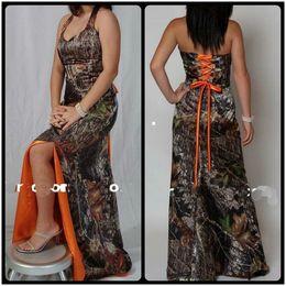 Argentina 2017 Halter Camo Naranja Vestido de dama de honor Split Sweep Train Lace Up Volver Custom Cheap Slim Vestidos De Damas de honor Dress Cheap Honor of Maid Suministro