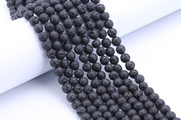 Wholesale Diy Loose Ceramic Beads - Wholesale Black Lava Rock Loose 6mm 8mm 10mm 12mm 14mm Natural stone beads For bracelet Necklace DIY Jewelry Making suppliers