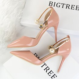 Wholesale Thin Metal Heel Sandals - New Women Summer Elegant Pumps Thin Heels Patent Leather Shallow Pointed Sweet Pearl Sandals Metal High Heels Shoes G923-13