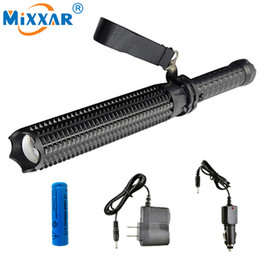 Wholesale Led Portable Battery Light - Powerful 4500LM LED Flashlight 18650 Battery CREE XM L2 Telescopic Self Defense LED Rechargeable Torch Flash Light
