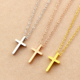Wholesale Solid Silver Cross Chain - New Arrival Top Quality 316L Titanium steel Luxury Solid Cross Women Charm Necklace Fashion Jewelry PS4003