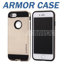 Wholesale Metal Fittings For Bags - V-ERUS For Iphone 6 6s 7 Note 5 S7 Edge Case Brushed Metal Dual Layered Anti-Shock Hard Cases Shockproof Back Cover Opp Bag