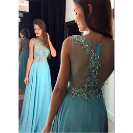 Argentina 2017 Light Sky Blue Prom Dresses Sheer Illusion Beaded Vestidos fiesta para ocasiones especiales para niñas See Through A-line Chiffon Sexy Evening Dress Suministro