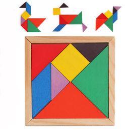 Mini Tangram Brinquedos De Madeira Crianças Crianças Educacionais Tangram Forma de Madeira Brinquedo Do Enigma Da Marca FT Blocos DHL Livre de