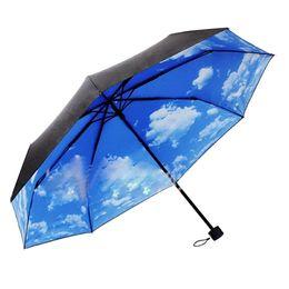 Wholesale Umbrella Uv Protection - Anti-UV Protection Balck Coating Umbrellas Fashion Non-automatic Three-folding Rain Umbrella for Women