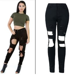 Wholesale Unisex Skinny Jeans - Wholesale- 2016 Cotton High Elastic Imitate Jeans Woman Knee Skinny Pencil Pants Slim Ripped Boyfriend Jeans For Unisex Black Ripped Jeans