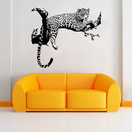 Wholesale leopard wall art - AW9320 New Leopard Tiger Vinyl Wall Stickers Home Decor Living Room DIY Art Mural Decals Removable Creative Branch Wall Sticker