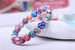 Wholesale ceramic animal beads wholesale - Handmade Faience Ceramics Beaded Strands Soft Porcelain Pure Handicraft 8mm Beads Charm Elastic Stretch Bracelets D188S