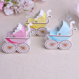 Wholesale Cute Baby Shower Favor Box - Cute Baby Carriages Candy Box Baby Shower Gift Boxes Wedding Decoration Faovrs 3 Colors Pink Blue Yellow