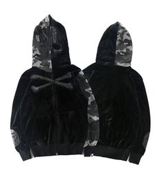 Wholesale Short Sleeve Sweater Hoodies - newest fashion kanye west Skull camouflage thin sweater coat yeeus corduroy color hip hop zipper hoodie free delivery