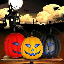 Wholesale Flash Light Mp3 - Pumpkin Mini Bluetooth Speaker Multicolor LED Flash Light Portable Speakers TF Ultra Clear Surround Sound Speakers Halloween Xmas Gift