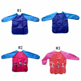 Wholesale Painting Bibs - Baby Feeding Painting Apron Children Polyester Waterproof Overclothes Kids Painting Clothes Waterproof Overall Baby Bib Burp OOA2682