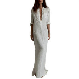 Wholesale Loose Dresses Cheap - Vestido Plus Size 2017 Spring Casual Cotton Dress Sexy Deep V-Neck Linen loose Long Maxi Cheap Beach White Dress FS0657