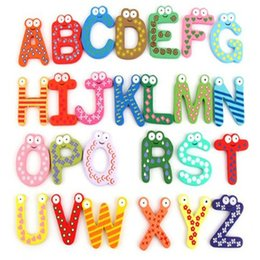 Wholesale Magnetic Alphabet Stickers - Wholesale- 26pcs cartoon wooden letters toys,magnetic alphabet stickers,education early learning word toy tools children kids gift boy girl
