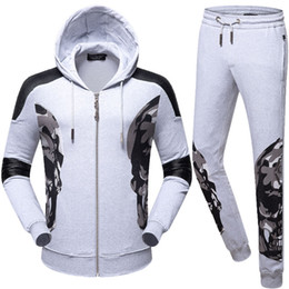 Wholesale Large Men Suits - The trend of men's camouflage big skull hot drill casual leisure sports 2017 new fashion tide men's suit hooded sweater men's large size PP